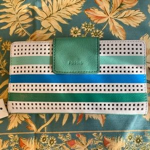 Fossil Emma RFID Multi Green Blue White Wallet